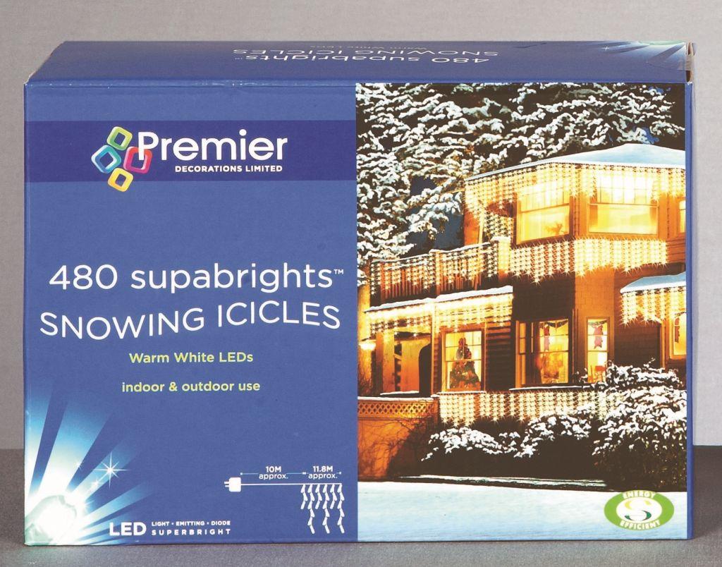 Premier Snowing Icicles 480 LED Warm White – LV081172WW