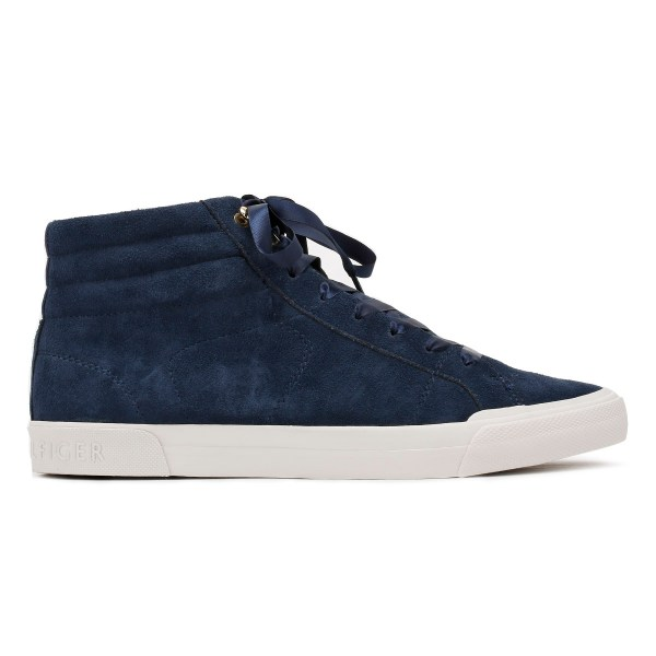 Tommy Hilfiger Womens Navy Blue Trainers, Suede Casual Hi ...