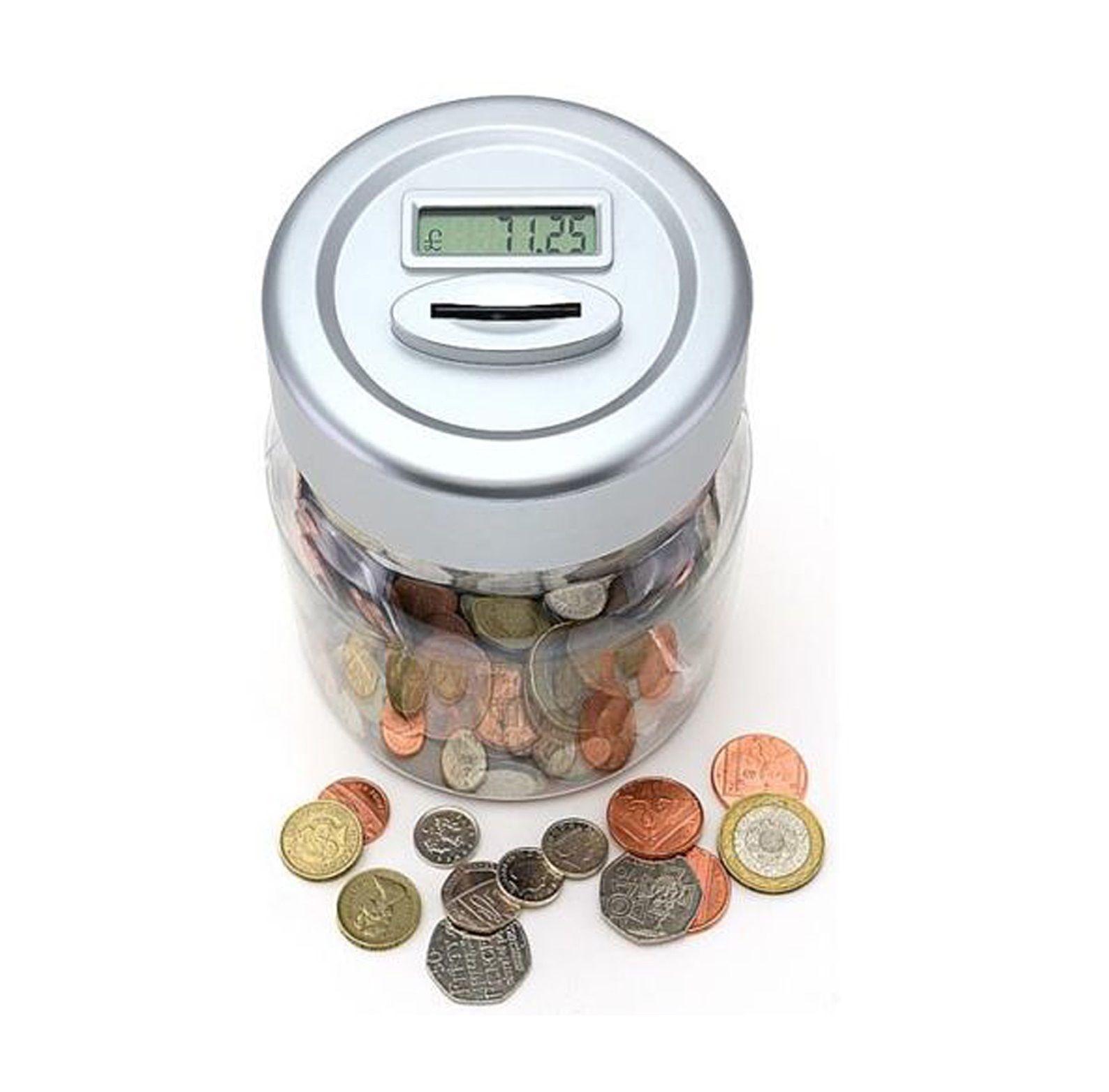Uk Pound Lcd Display Digital Coin Counting Jar Piggy Bank
