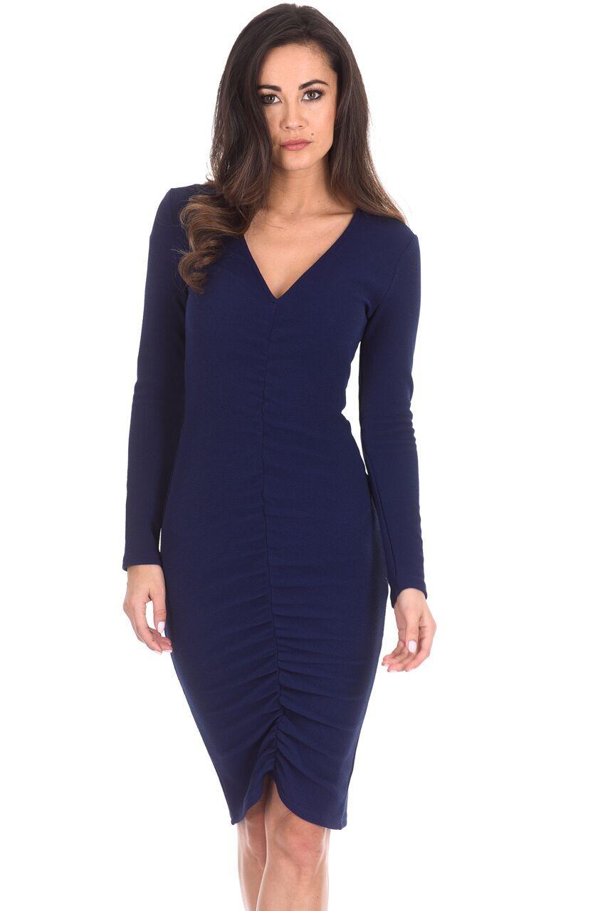 AX Paris Womens Midi Bodycon Dress Navy Blue Ruched Long