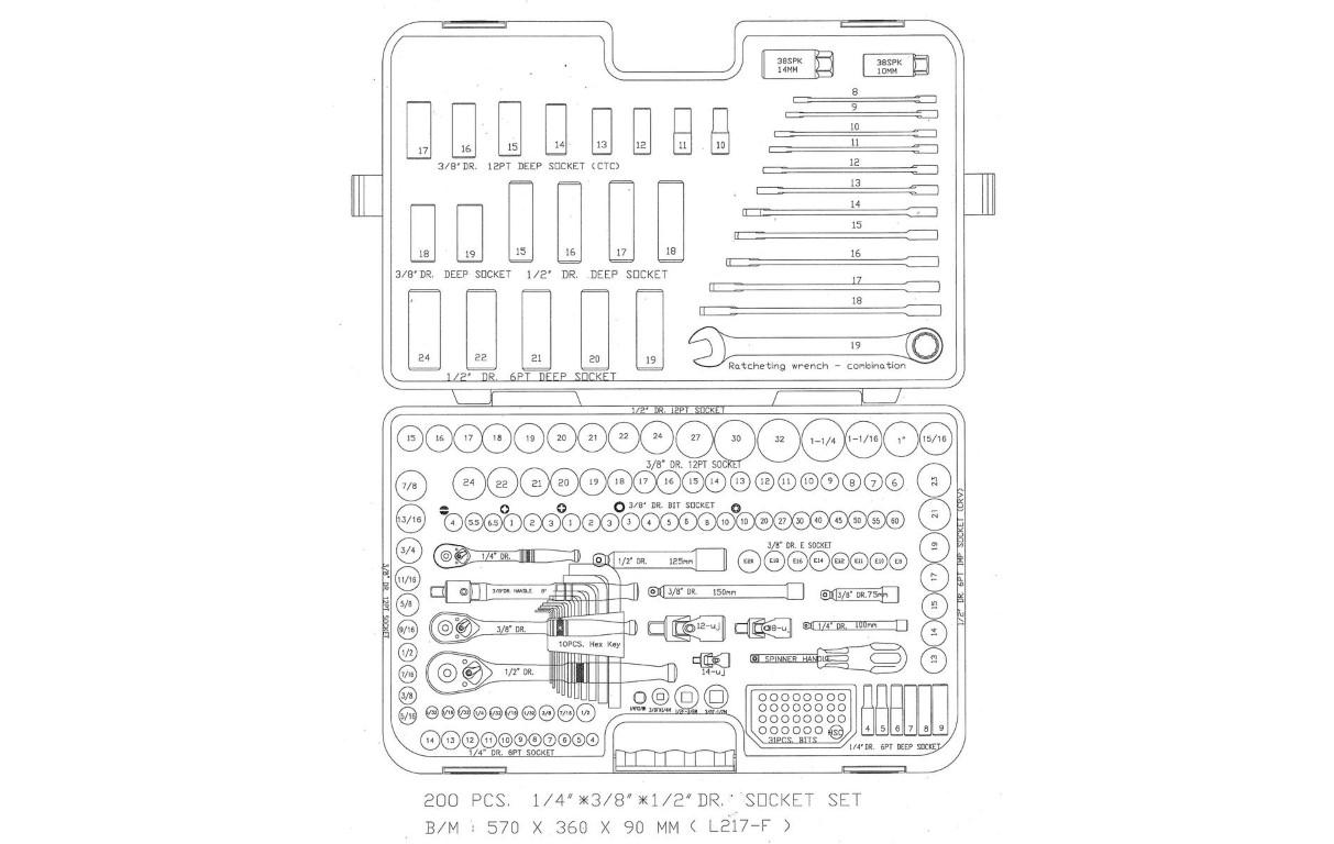 Halfords Advanced 200 Piece Socket Amp Ratchet Spanner Set