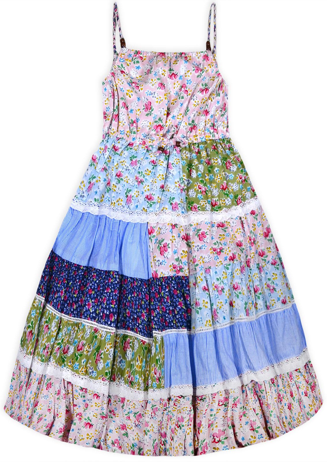 Girls New Patchwork Floral Sun Dress Kids Cotton Summer