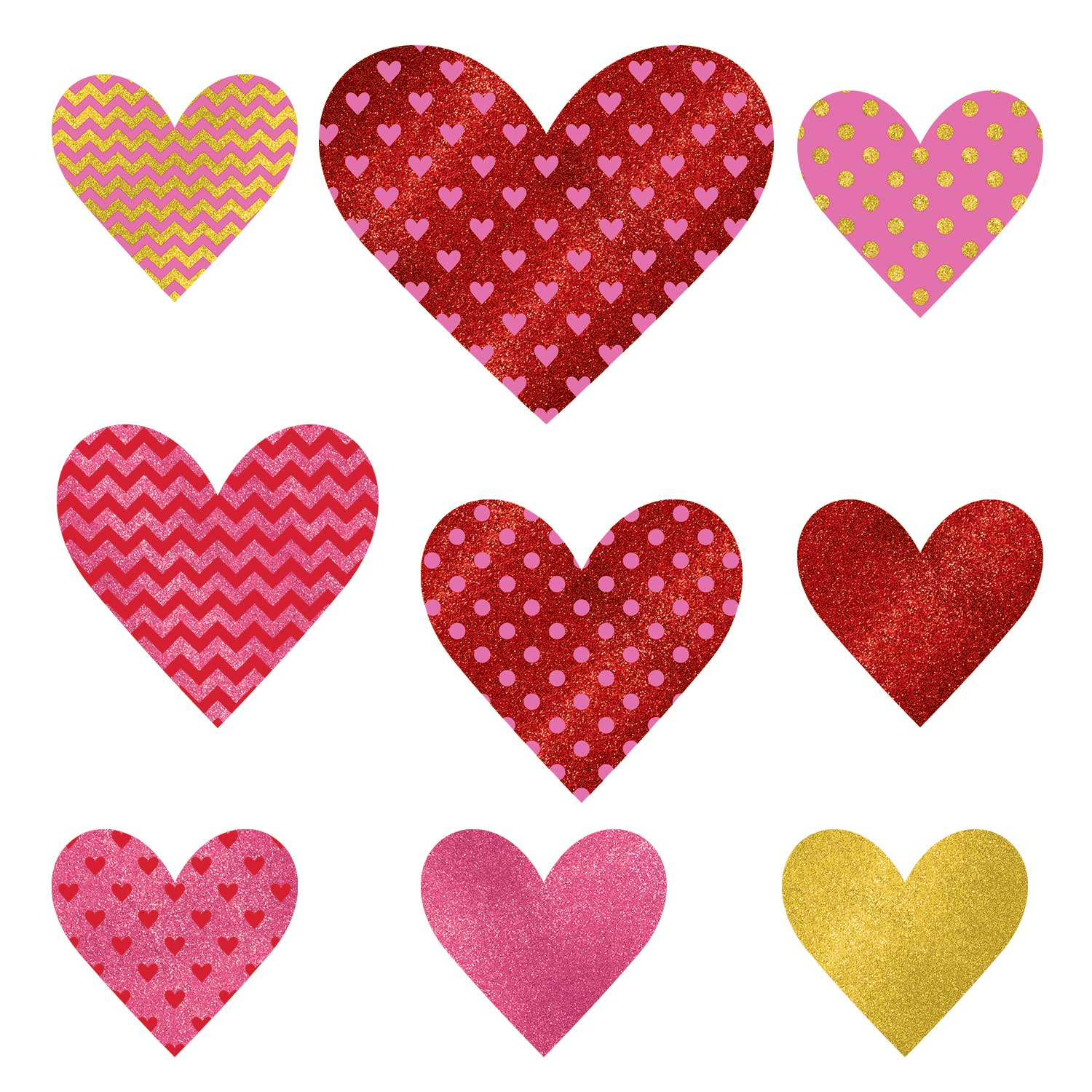 9 X Red Amp Pink Glitter Heart Cutout Decorations Assorted
