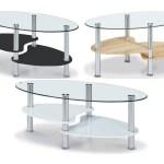 Heartlands Hurst Glass Oval Coffee Table 2 Shelves Black White Wood Effect Ebay