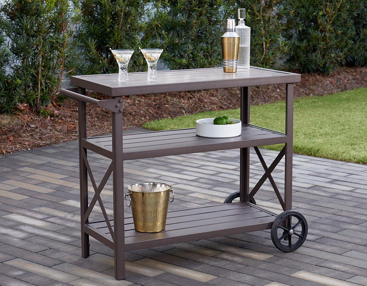 Cosco Outdoor Living Farmstead Serving Drinks Bar Cart Dark Brown 44681870606 Ebay