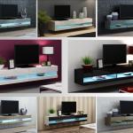 High Gloss Tv Stand Cabinet Led Lights Floating Wall Unit 140cm 180cm Ebay