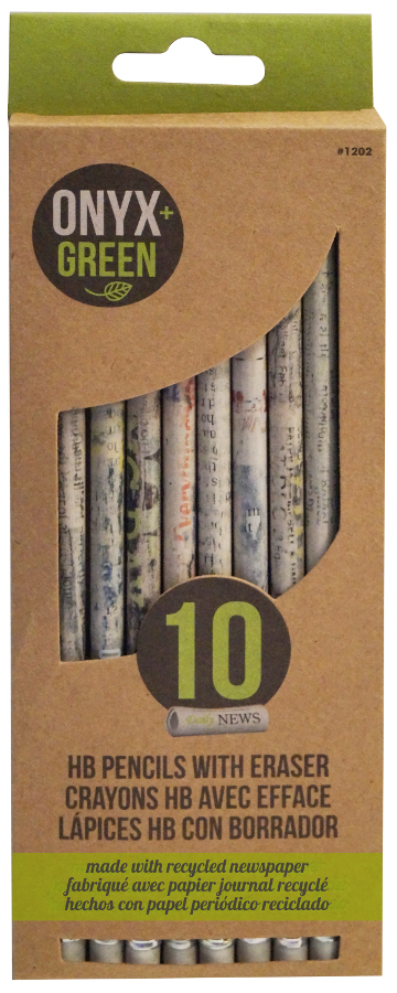 Recycled Newspaper HB Pencils With White Eraser 10 Pack