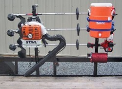 pack em rack for open utility trailers holds 3 trimmers 1 blower 1 line spool 1 cooler