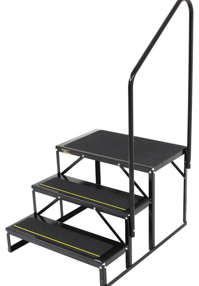 Econo Porch Trailer Step With Handrail And Landing Double 7 | Portable Stairs With Handrail | Chair | Plastic Portable | Camper | Wall Mounted | Ladder