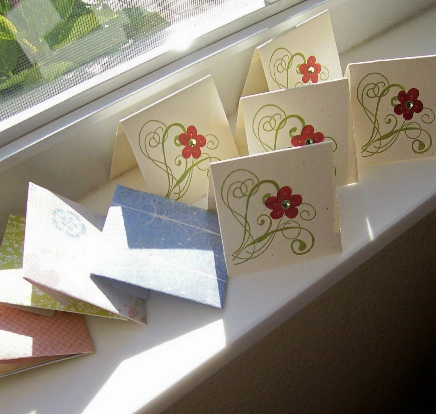 Red Flower Mini Cards