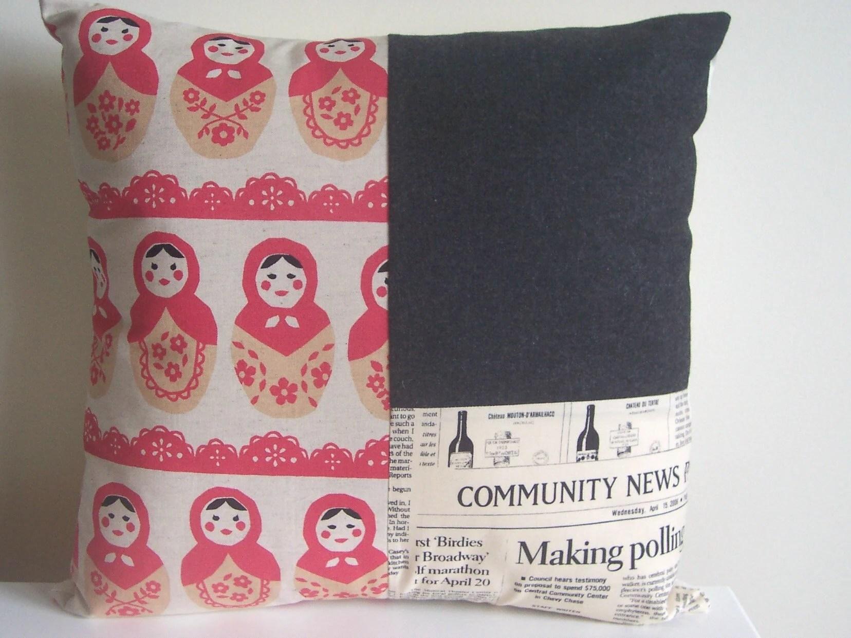 matryoshka dolls patchwork cushion cover - tuttifruiti (optional insert)