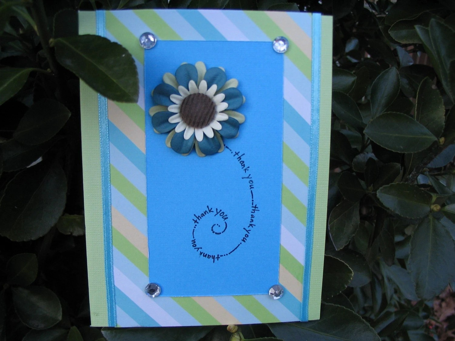 Blue Inspired Flower Thank You Card
