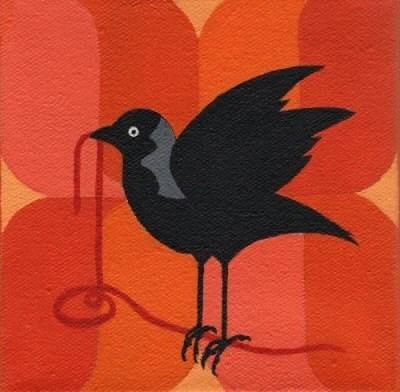 Jackdaw with Yarn, Acrylic 4x4 Print