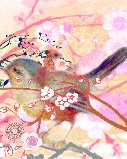 April Bird and Blossoms