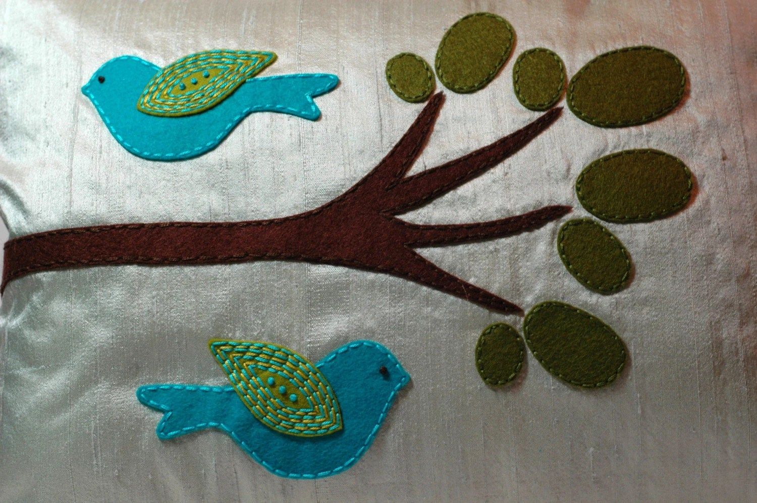 Turquoise and Chartreuse Birds Pillow