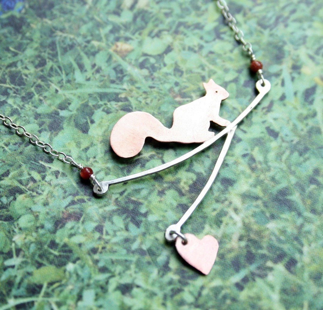 Cute Squirrel on Branch Necklace