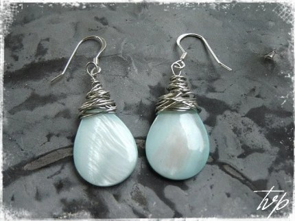 Sterling Wire Wrap Aqua Shell Earrings