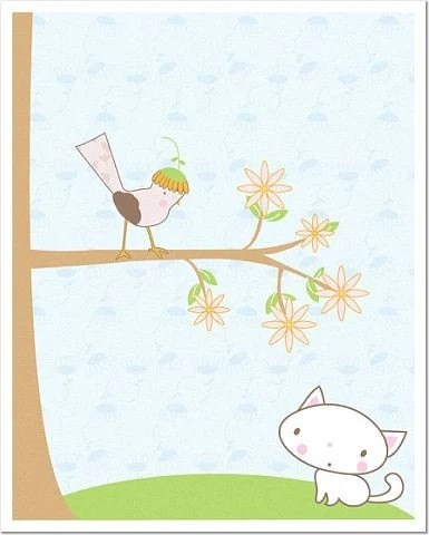 Kitty and Birdie 8 x 10 Matte or Glossy Photo Poster