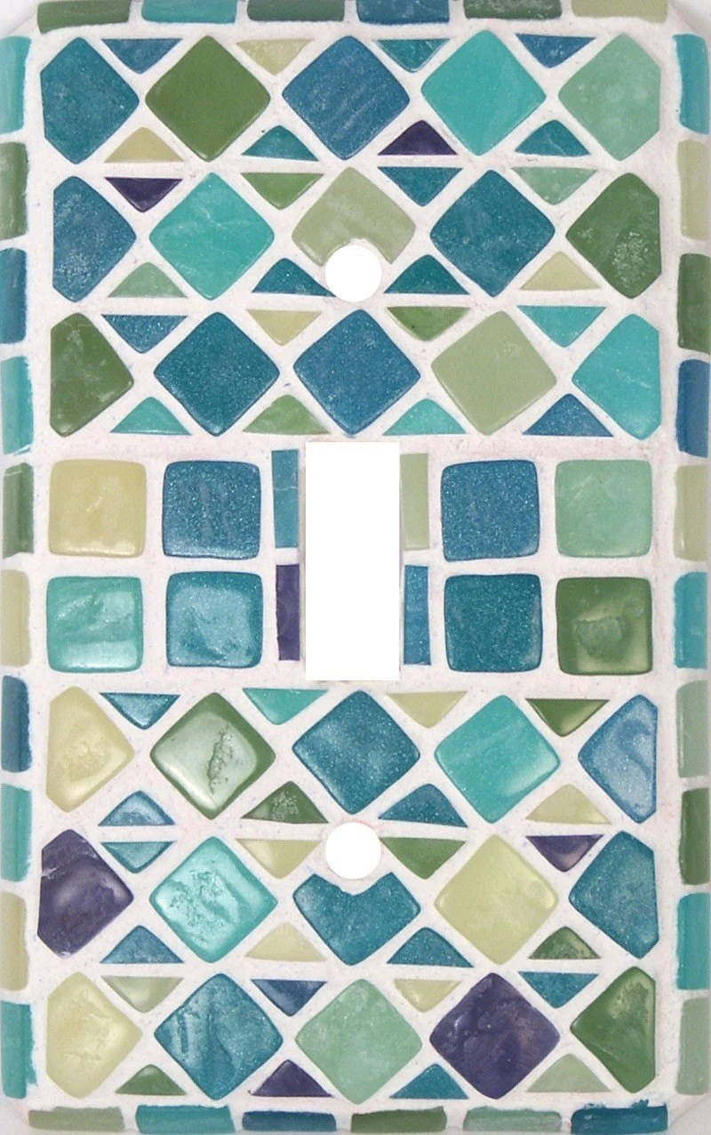 Faux Seaglass Mosaic Decorative Switch Plate