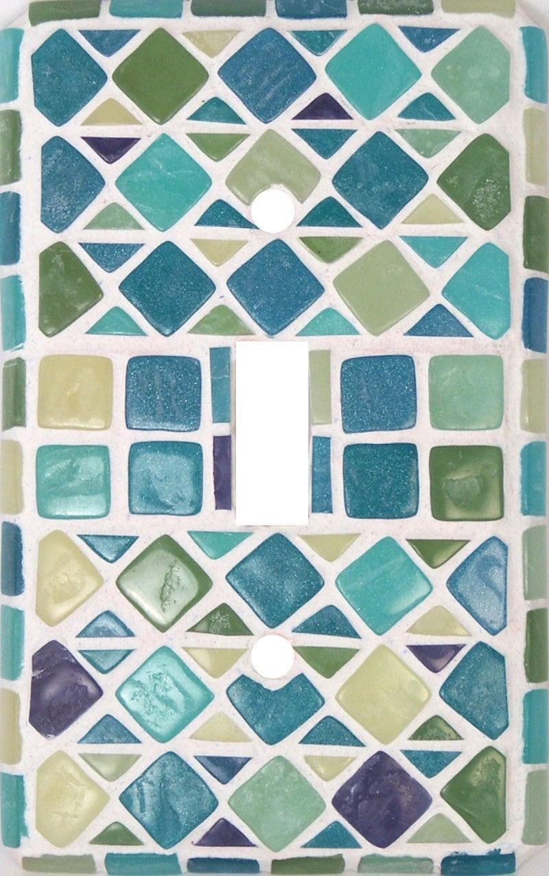 Faux Seaglass Mosaic Decorative Switch Plate