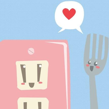 fork and socket romance art print