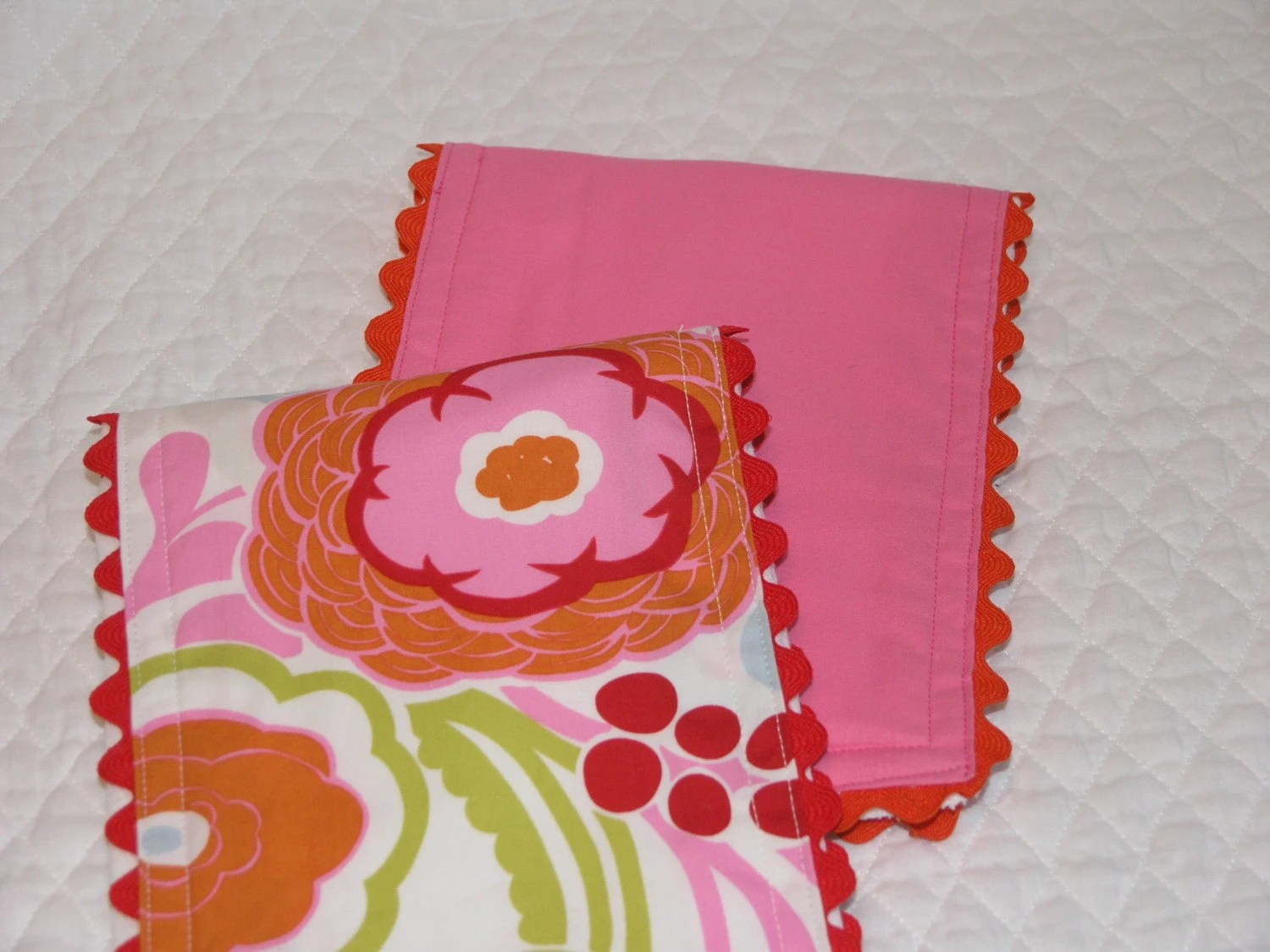 Mocca and Pink Baby Diaper Burp Cloths
