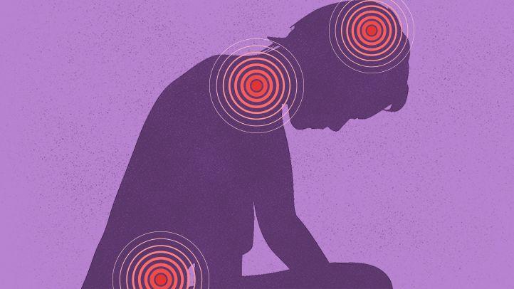 illustration person headache pain points