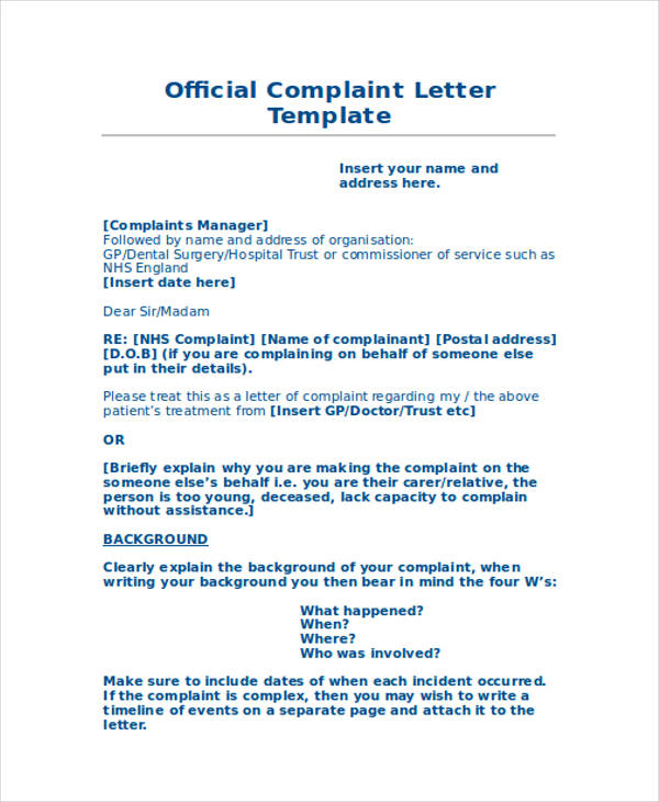 formal complaint letter sample against a person | Bestletters co