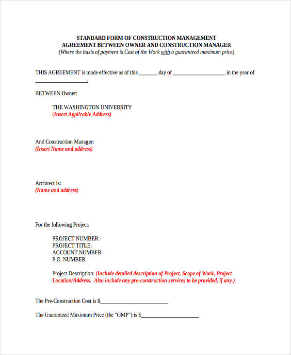 This construction manager job description template is optimized for posting in online job boards or careers pages and easy to customize for your company. 64 Management Agreement Examples In Pdf Google Docs Ms Word Pages Examples