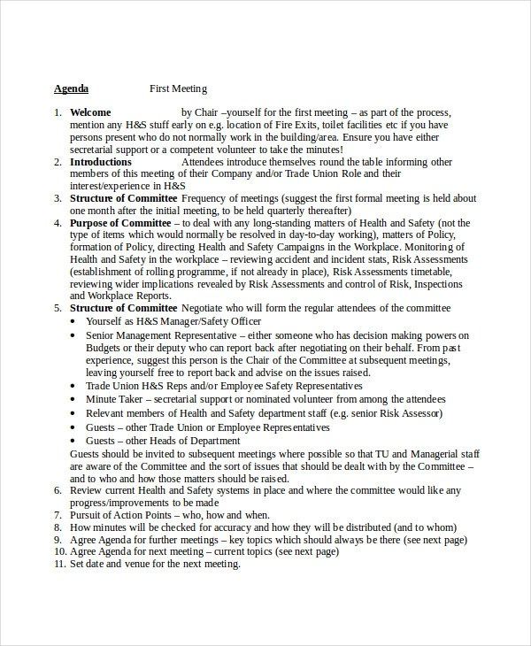 This is a demented form of agenda templates. Free 6 Safety Agenda Examples Samples In Pdf Doc Examples