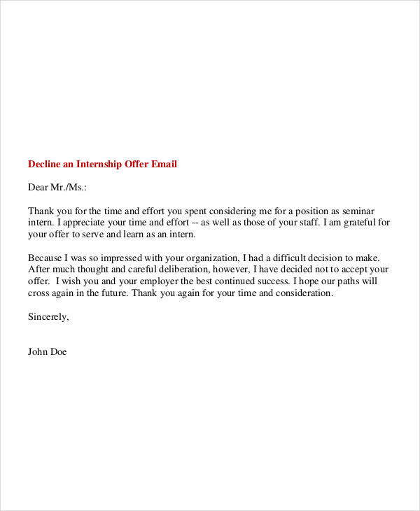 Decline an internship offer email