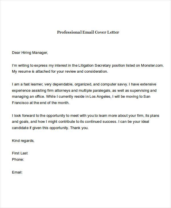 Dear Management Cover Letter