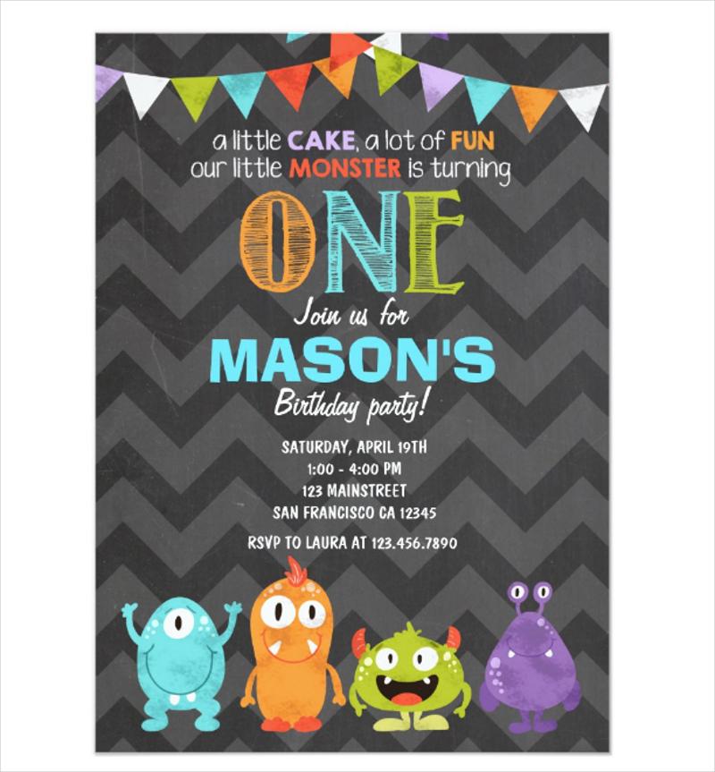 monster birthday invitation designs