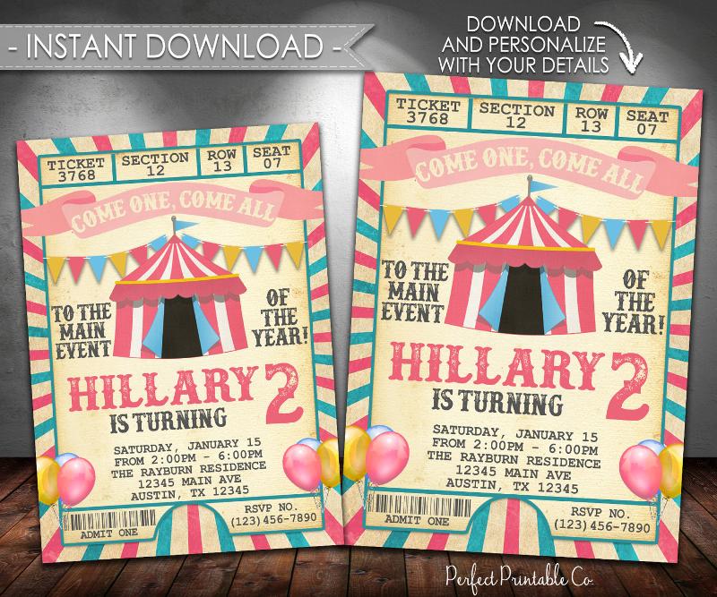 carnival birthday invitation designs