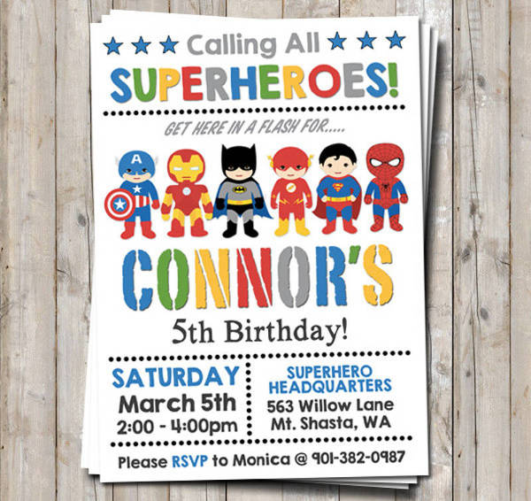 free 19 superhero birthday invitations