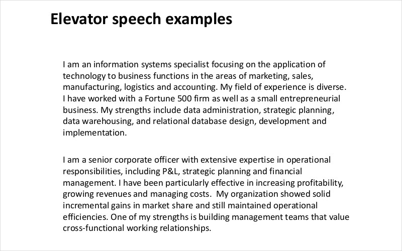FREE 13 Examples Of Elevator Speech In PDF Examples