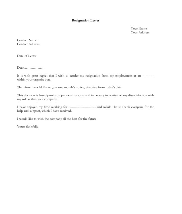 9 Official Resignation Letter Examples