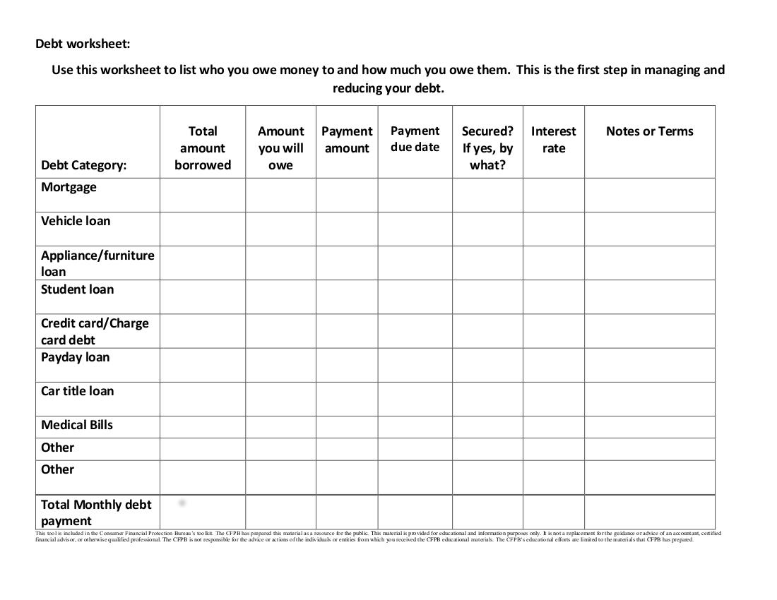 11 Debt Worksheet Examples In