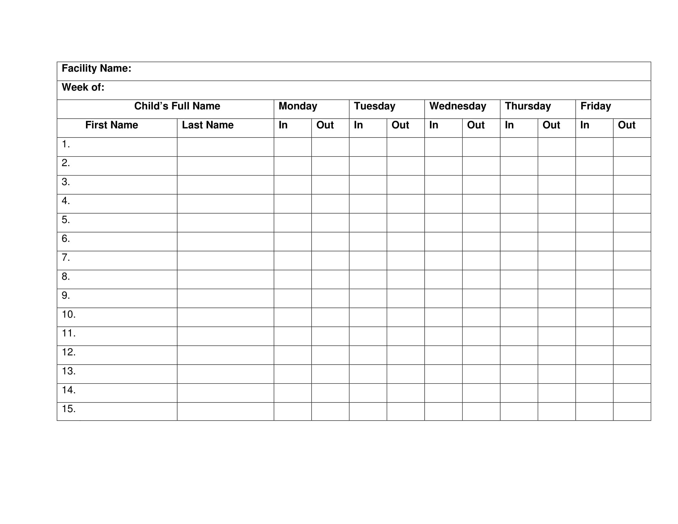10 Printable Attendance Sheet Examples