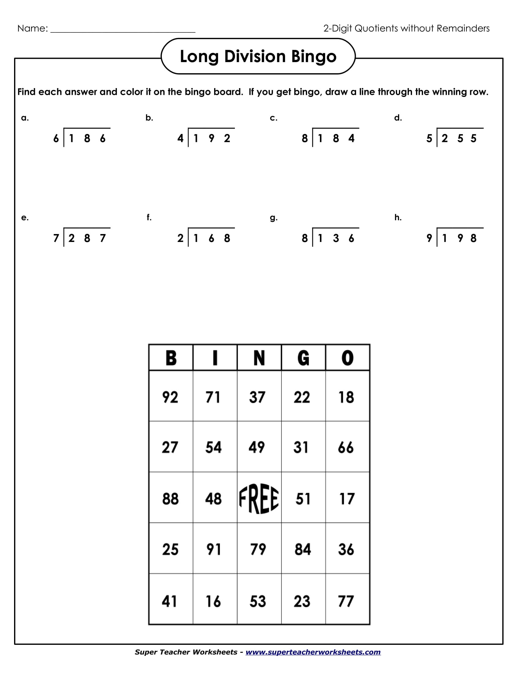 Printables Of Long Division Bingo Worksheet