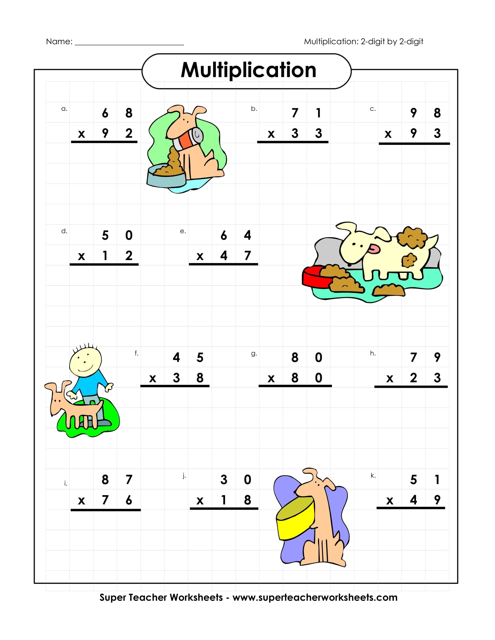 Multiplication Sample Worksheet