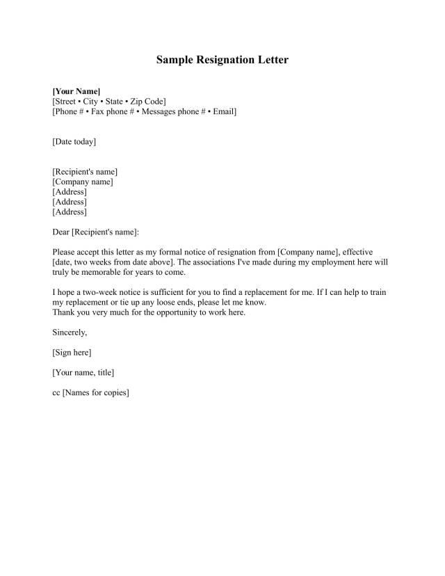 Employment Resignation Letter Milano