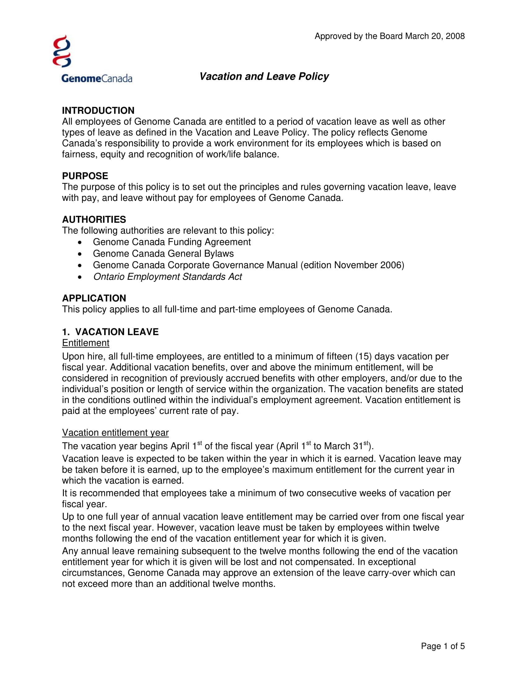 11 Vacation Policy Examples PDF Word Examples
