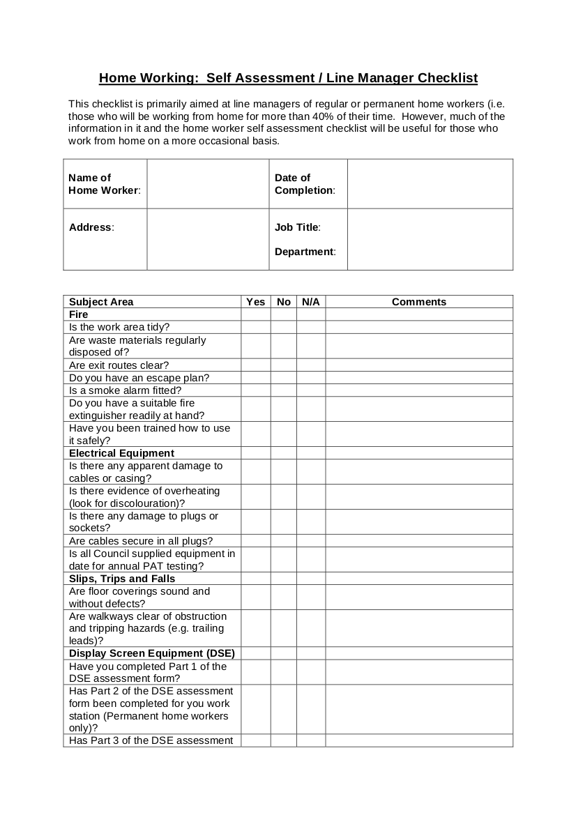 8 Home Based Employee Checklist Examples PDF Word Examples
