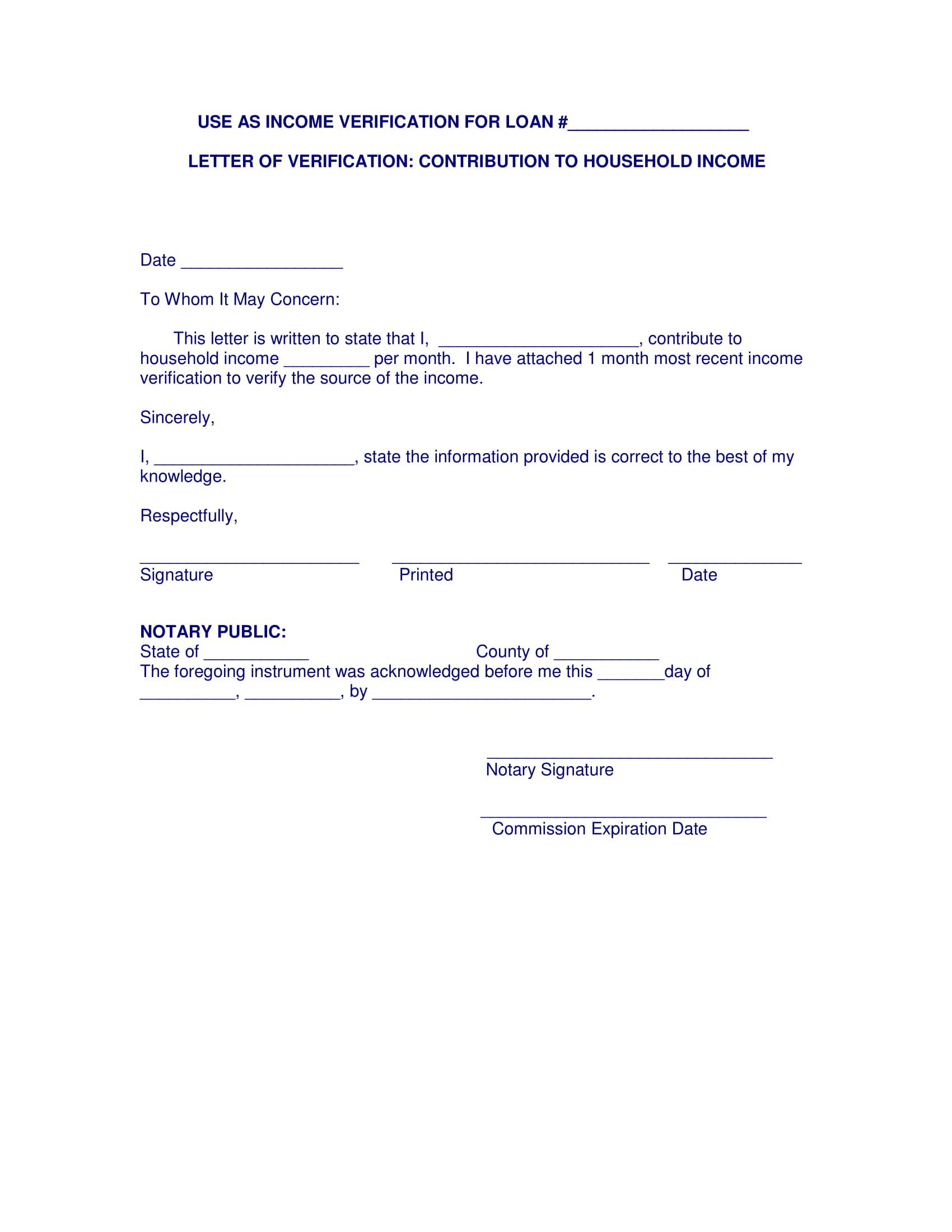9 Income Verification Letter