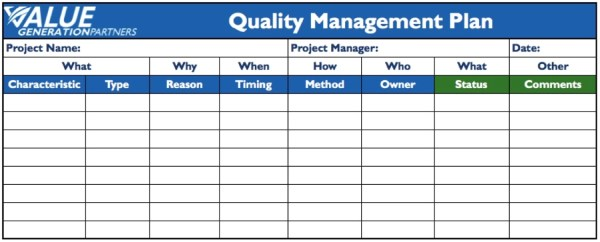 project quality management plan template example