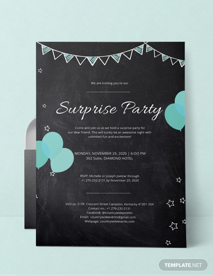 19 surprise party invitation designs