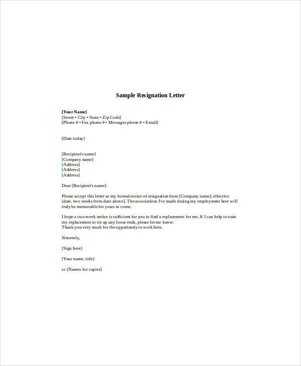 Standard Resignation Letter Examples