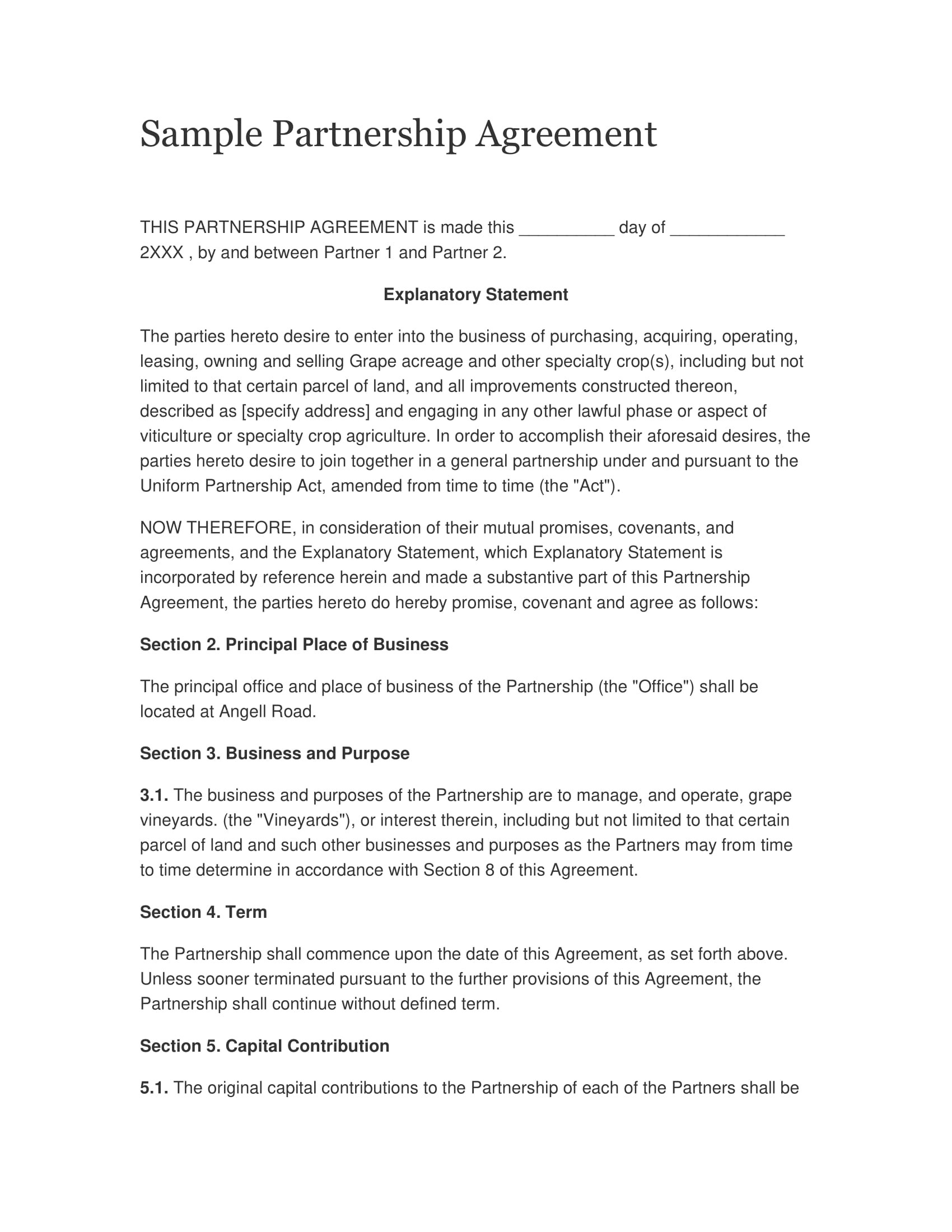 """insert name of insert address (individually the """"partner"""" and collectively the """"partners""""). 32 Free Partnership Agreement Pdf Doc Examples"""