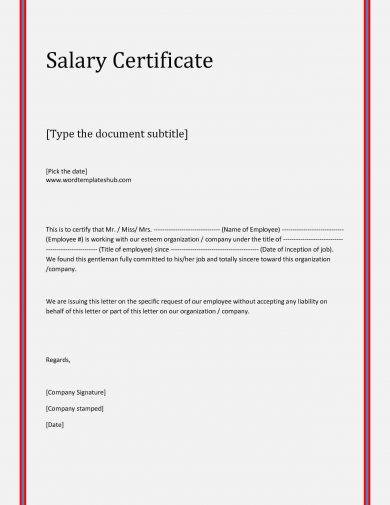 8 Salary Verification Letter Examples